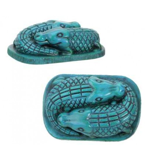 Faience Blue Egyptian Crocodile Statue at LABEShops, Home Decor, Fashion and Jewelry