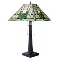 Green Arrow Mission Style Art Glass Table Lamp