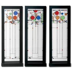 Frank Lloyd Wright Coonley School Stained Glass Triptych Panels LABEShops Home Decor, Fashion and Jewelry