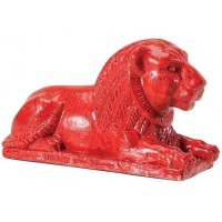 Egyptian Lion Red Statue
