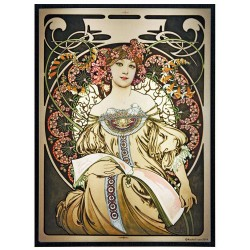 Reverie Alphonse Mucha Stained Glass Art Panel LABEShops Home Decor, Fashion and Jewelry