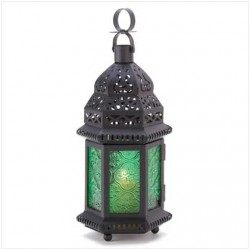 Green Glass Moroccan Candle Lantern LABEShops Home Decor, Fashion and Jewelry