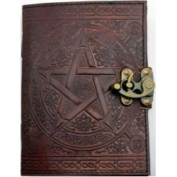 Pentacle Brown Leather Book of Shadows 7 Inch Journal with Latch