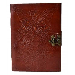Owl Leather 7 Inch Blank Book with Latch
