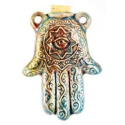 Hamsa Hand Raku Oil Bottle Necklace LABEShops Home Decor, Fashion and Jewelry