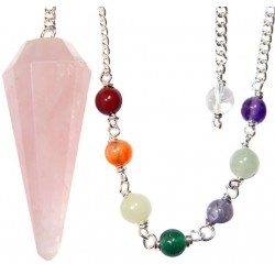 Rose Quartz Crystal Chakra Scrying Pendulum LABEShops Home Decor, Fashion and Jewelry