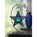 Star Hanging Lantern with Stand - Blue