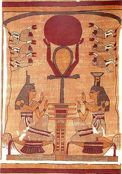adoration of ra from the egyptian book of the dead with goddess isis and nepthys and baboons